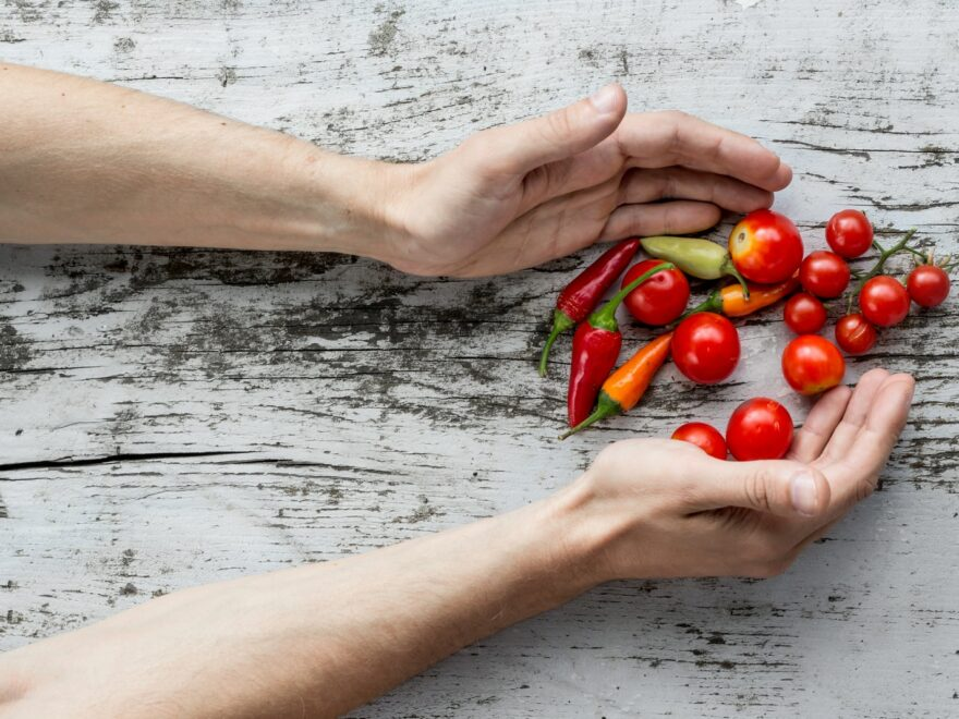 person hand's about to get cherry tomatoes and bell peppers